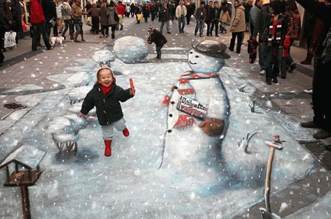 snowman-chalk-art