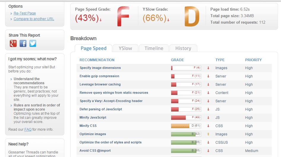 Before WordPress Page Speed Optimization