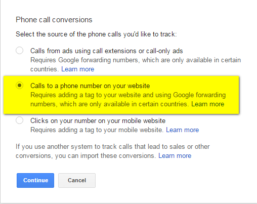 google adwords website call tracking on WordPress