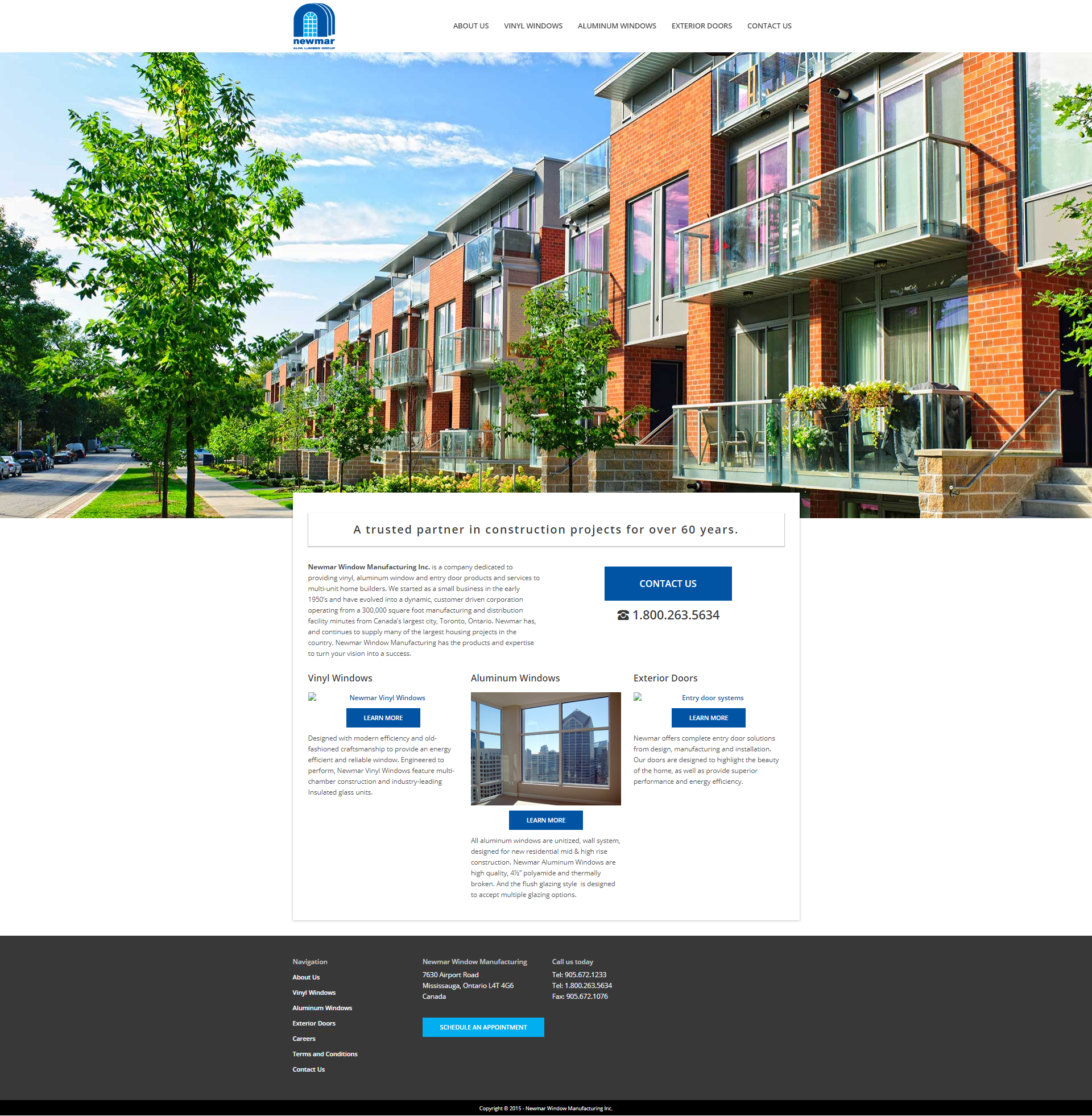 Newmar Windows WordPress website