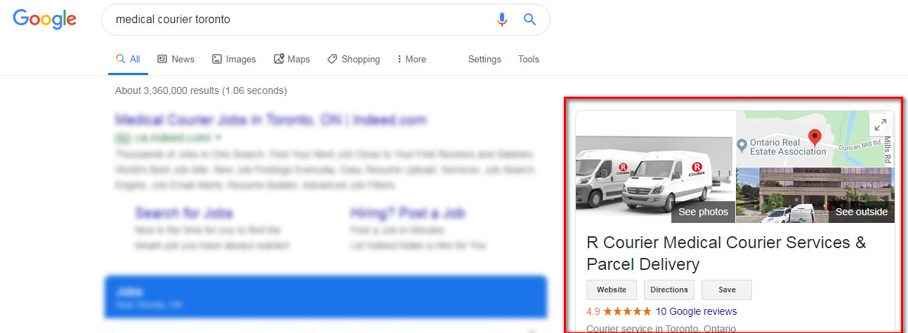Google search for medical courier toronto returns google business listing for R Courier